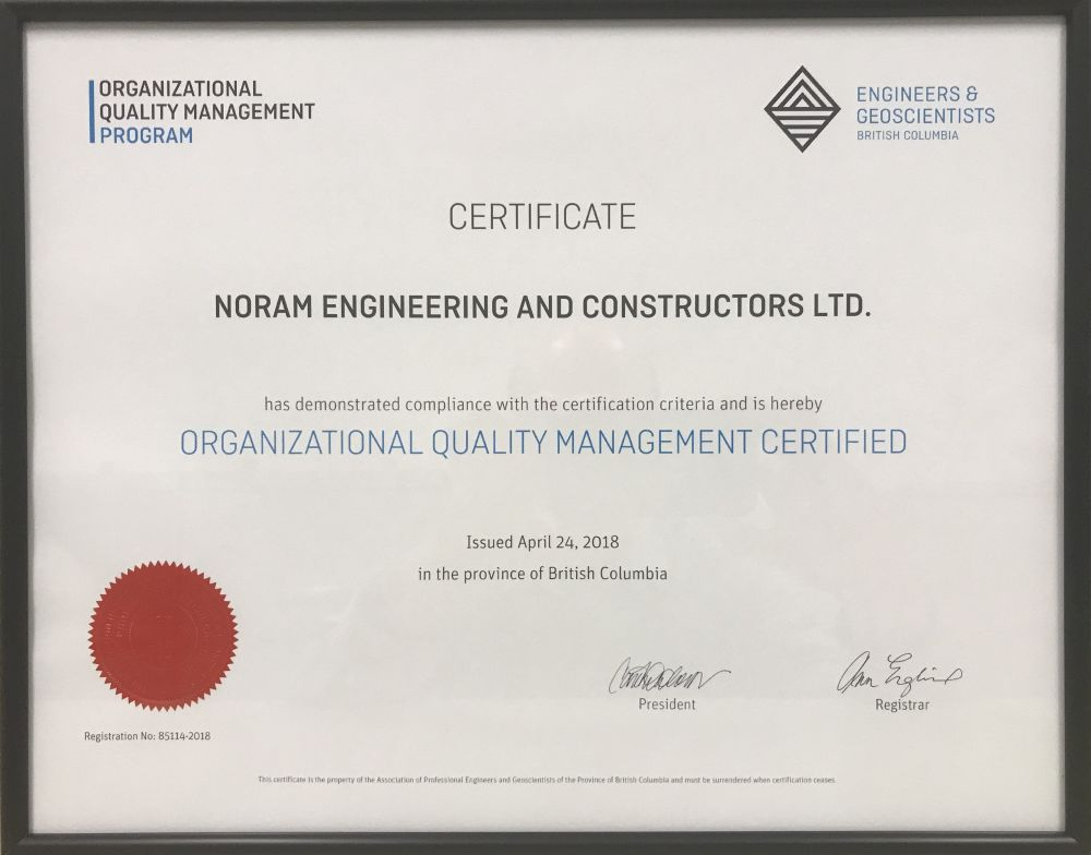 Noram Receives Oqm Certification Noram Engineering And